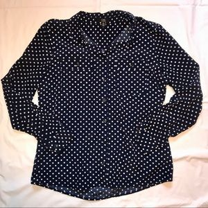 Chic By Jacob Polka Dot Dress Shirt Women Large